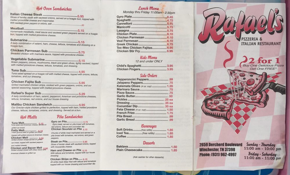 Raphael's Pizzaria & Restaurant: 2659 Decherd Blvd, Winchester, TN