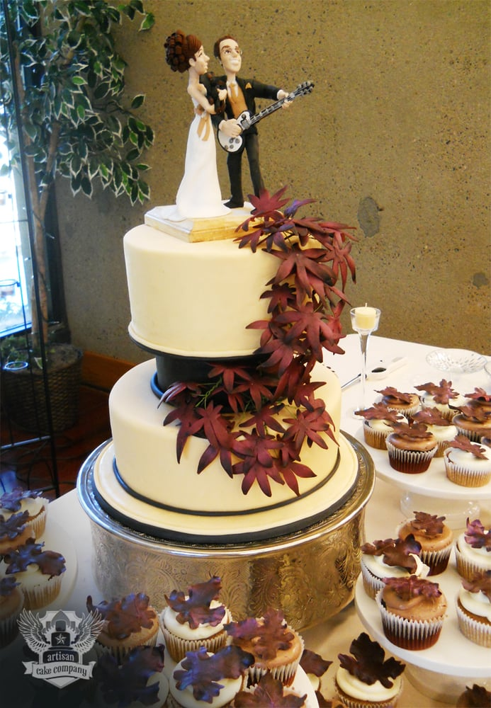 Autumn Themed Wedding Cake With Sugar Leaves And Custom Topper Yelp