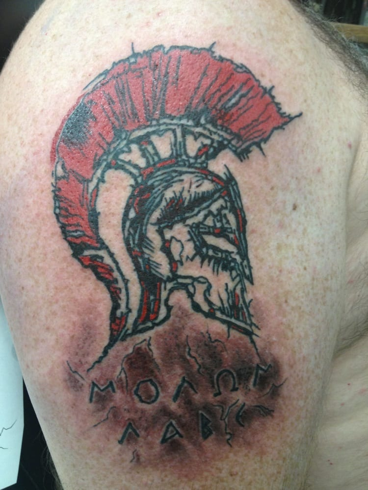 Spartan Helmet With Inscription Of Molon Labe In Greek Yelp
