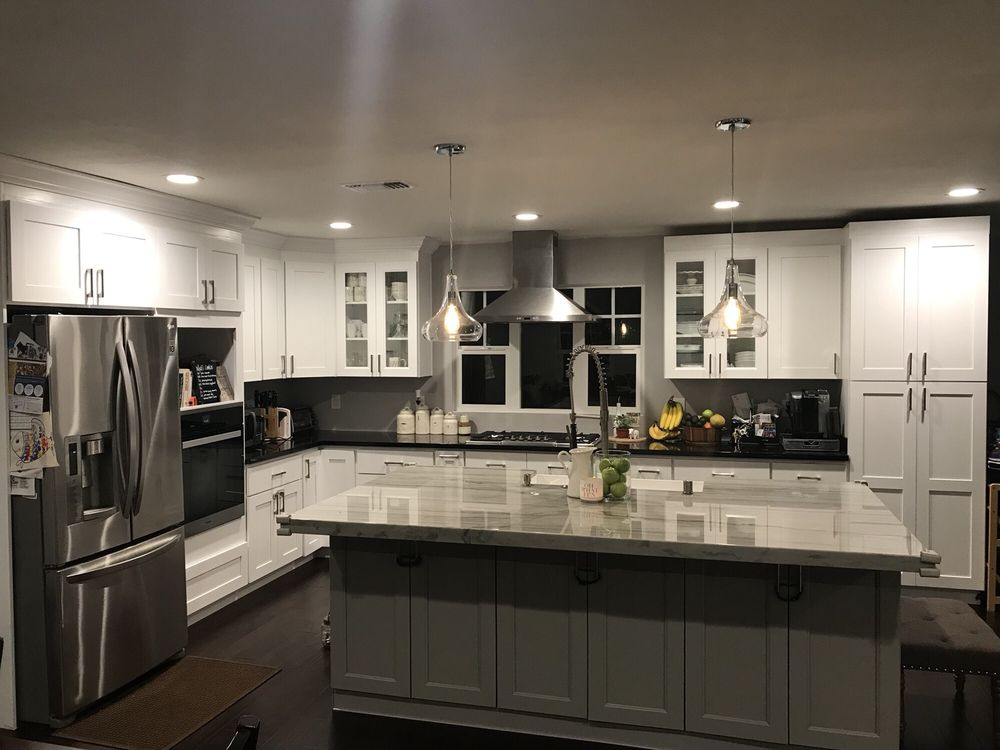 white & grey shaker cabinets. my hubb's not done with the ...