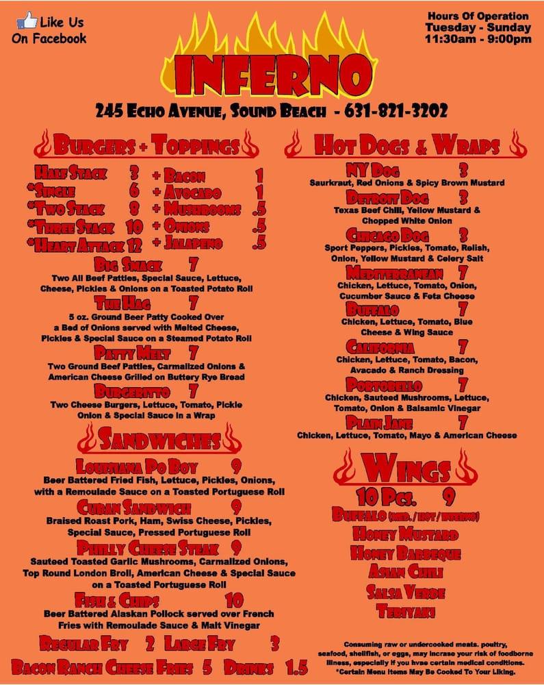 Inferno Restaurant Sound Beach Menu