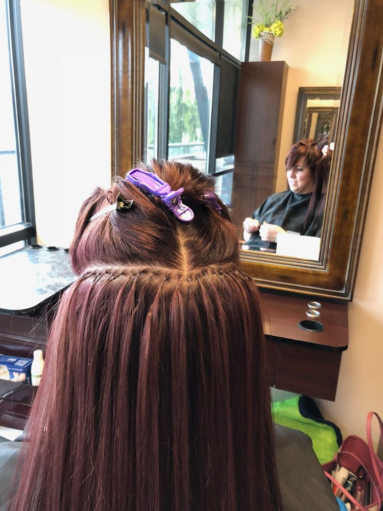 Bonded Hair Extensions During The Application Process Yelp