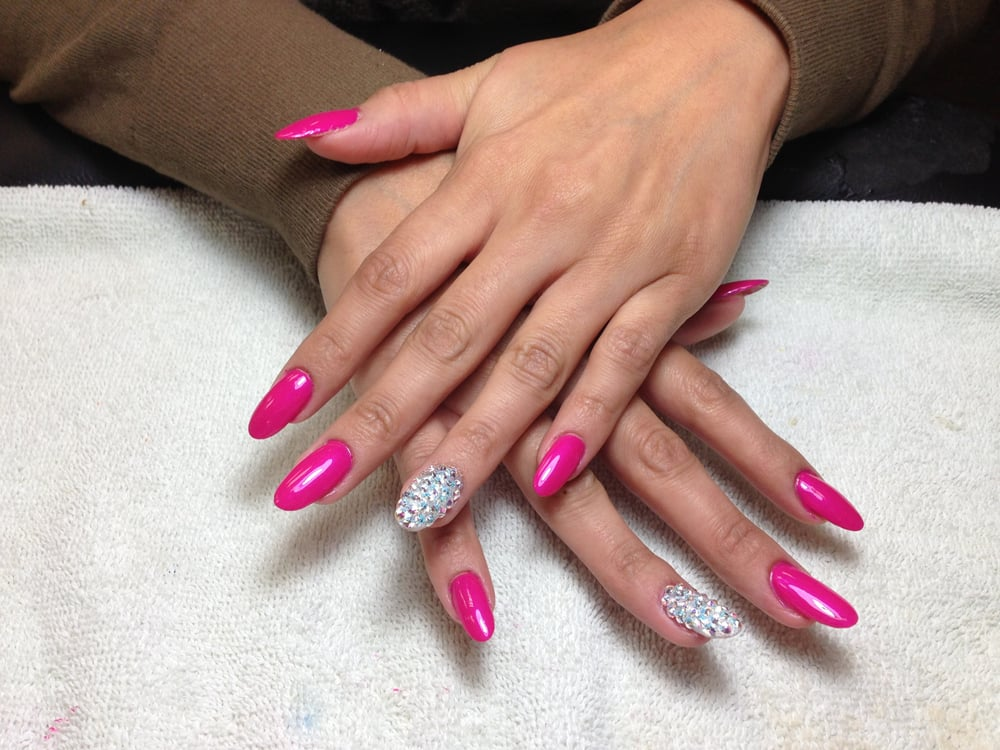 Pink acrylic nails with swarvoski crystals. 2 finger nail design for ...