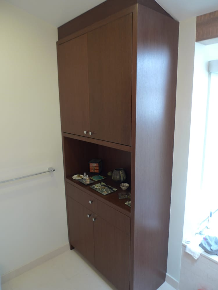 Wenge cabinet to match the vanity and medicine cabinet yelp for Bathroom cabinets yelp