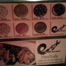 East Japanese Restaurant - West Nyack, NY, United States. Prices are determined by plate colors