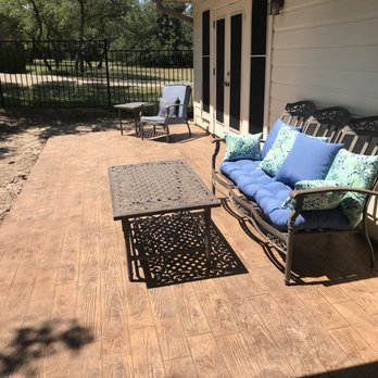Wood Grain Stamped Concrete Patio To Look Like A Deck