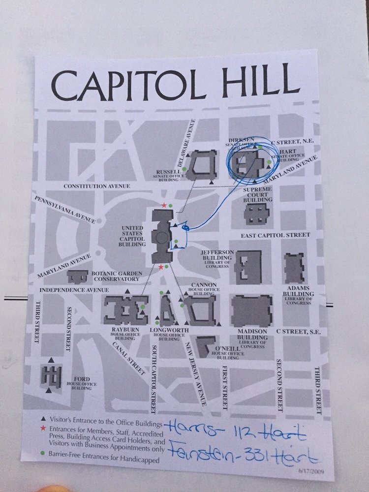 Map of Capitol Hill Hart Building for both California Senators Yelp