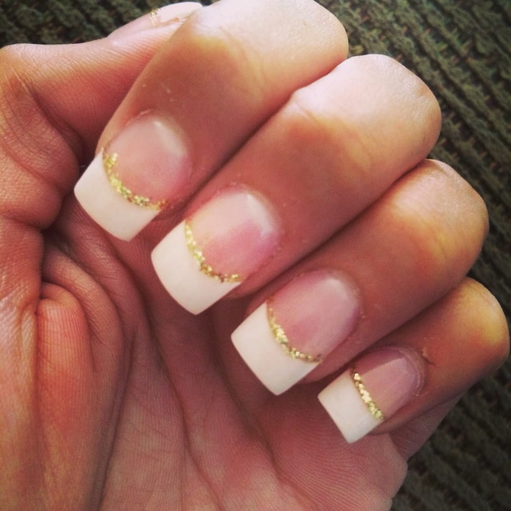 Acrylic French tips with gold lining for prom tomorrow!!! - Yelp