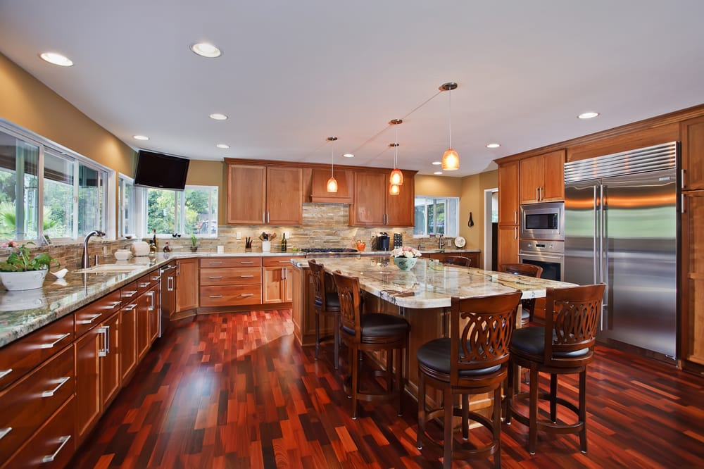 Large family kitchen design with tons of cabinet storage for Kitchen design yelp