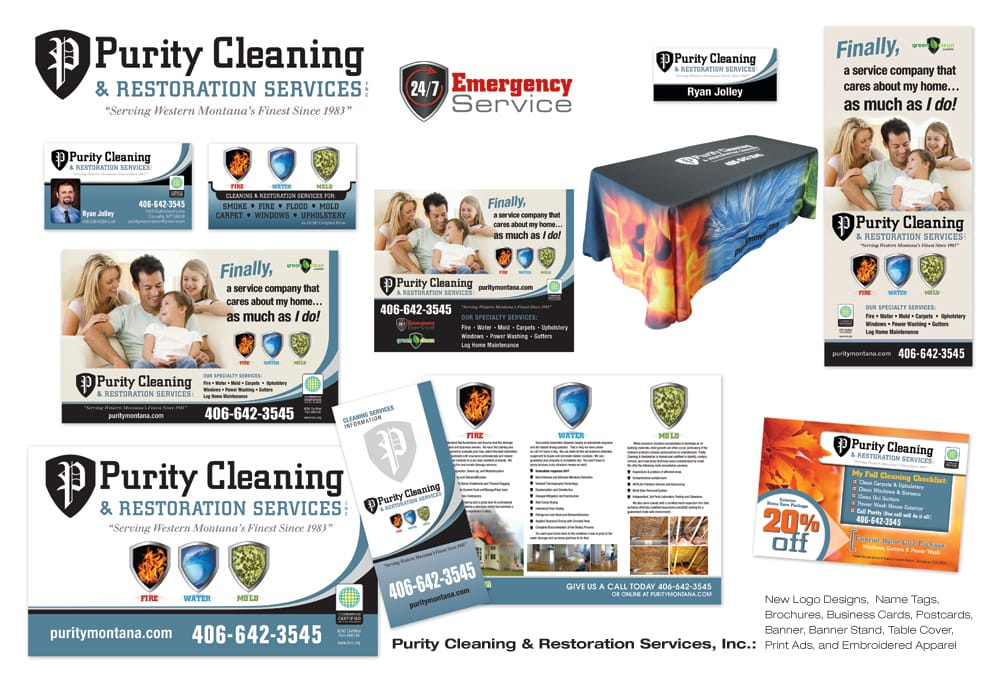 Purity Cleaning Marketing. New logo design, name tags, brochures ...