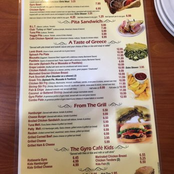 Gyro Cafe Shelby Menu