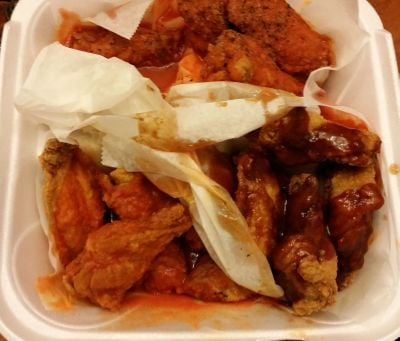 Wings to go hot hot garlic pepper and honey bbq yelp for Sharks fish and chicken near me