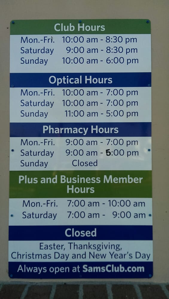 What Time Does Sams Club Open On Sunday >> Sams Club Hours Yelp
