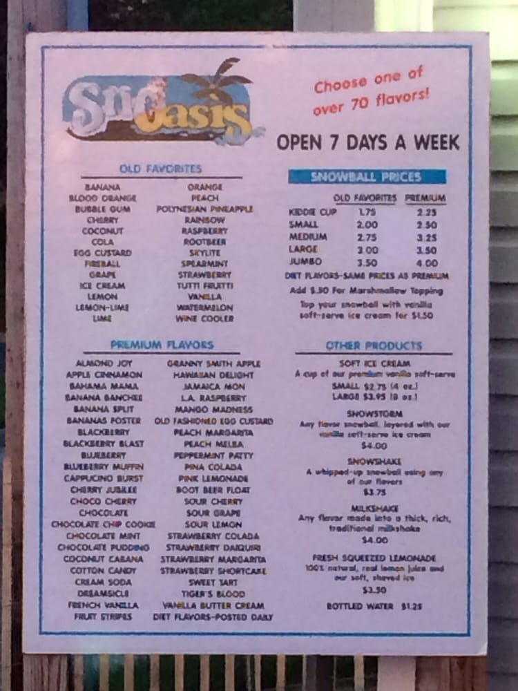 Snoasis shaved ice