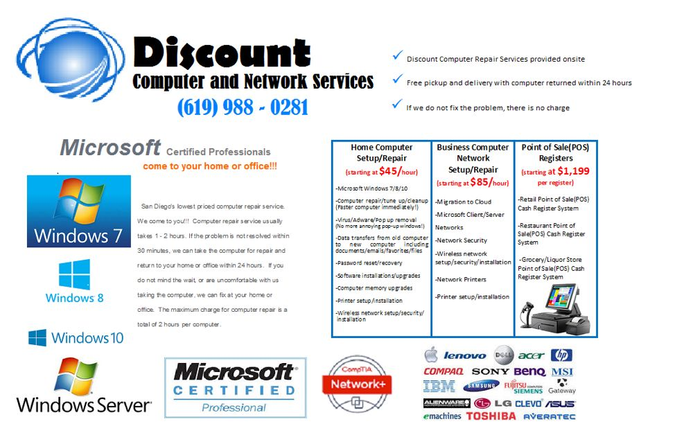 Discount Computer Repair and Network Services: 4385 Governor Dr, San Diego, CA
