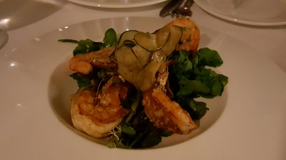Saut ed kauai shrimp cucumber kim chee korean spiced for Merriman s fish house
