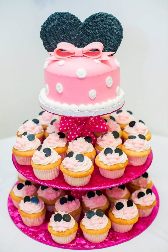 Minnie Mouse cake and cupcake tower for my daughters 1st birthday