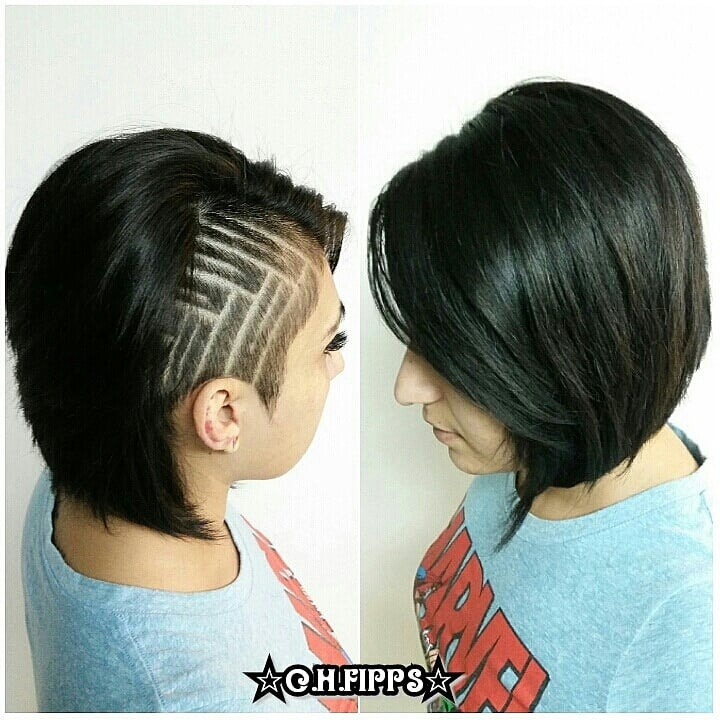 Shaved Side With Geometric Designs On A Pixie Bob Haircut Yelp