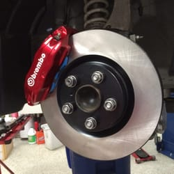 Enthusiast Auto Care - Concord, CA, United States. Front Brembo brake caliper, Stoptech rotor, and Endless brake pads installed by Eugene.