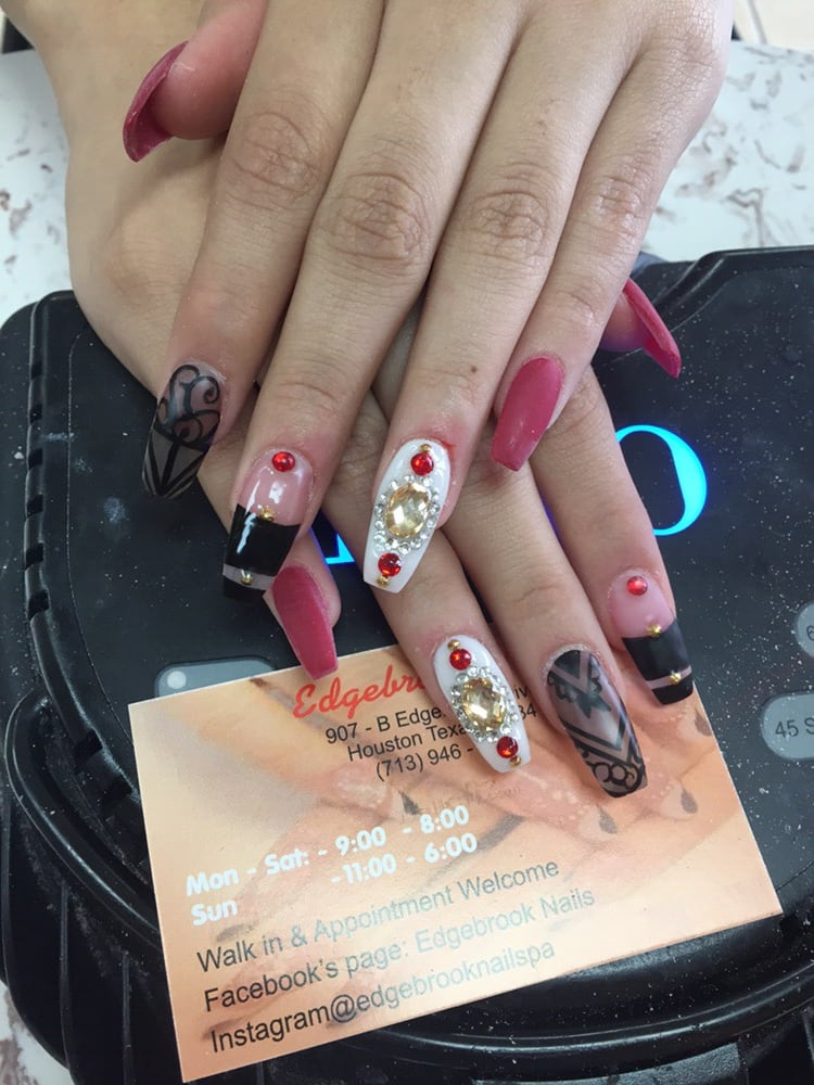 Matte Powder Nails With Crystal Designs Yelp