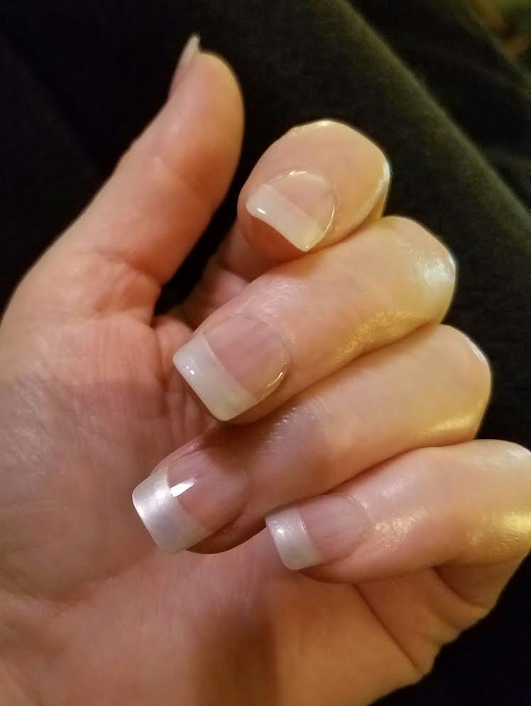 solar white clear with pearl tips by jenny at the avalon