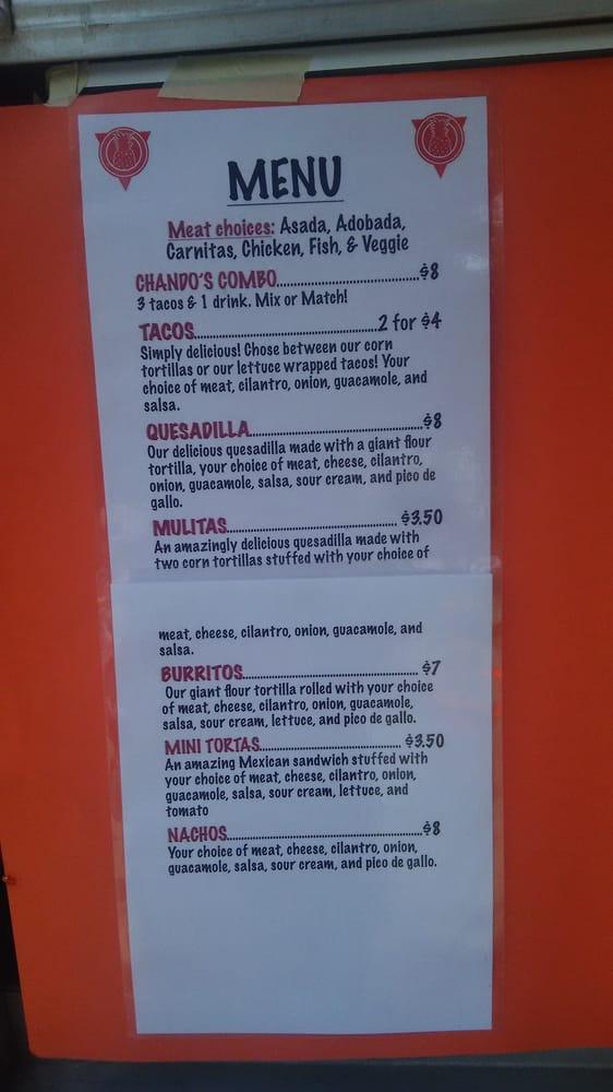 Chandos Food Truck Menu Yelp