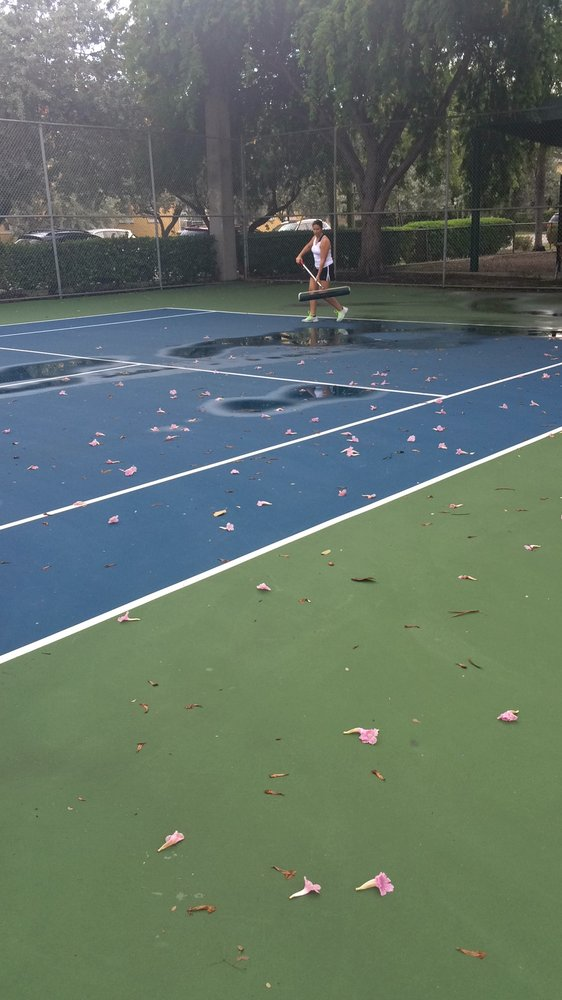 My Enthusiastic Friend Rita Squeegees Off The Puddles On The Tennis