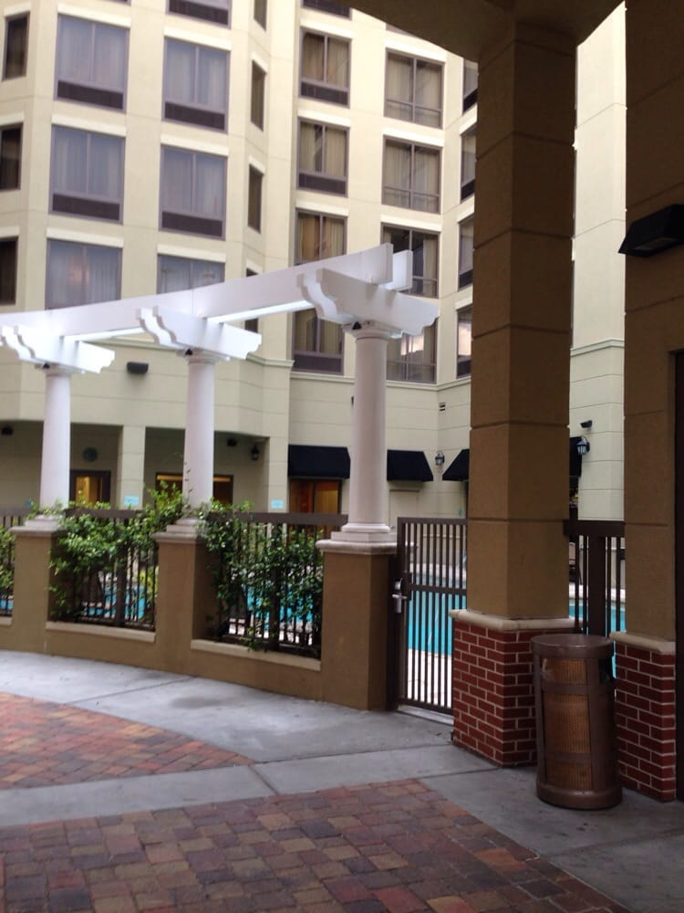 Outside of pool area at front of hotel yelp Hilton garden inn jacksonville downtown southbank