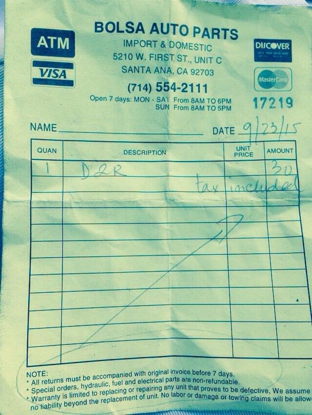 bolsa auto part receipt yelp
