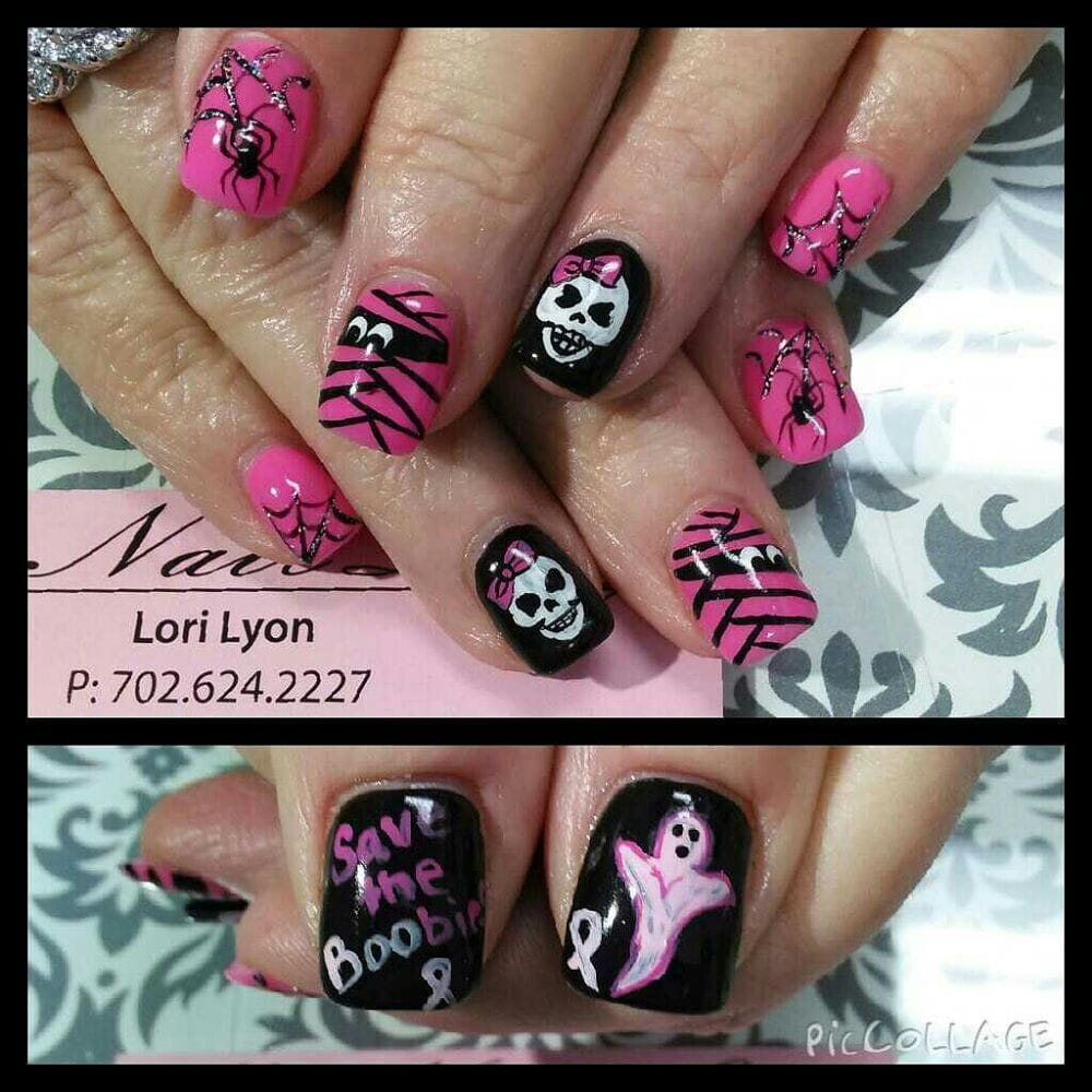 Halloween breast cancer awareness nails - Yelp
