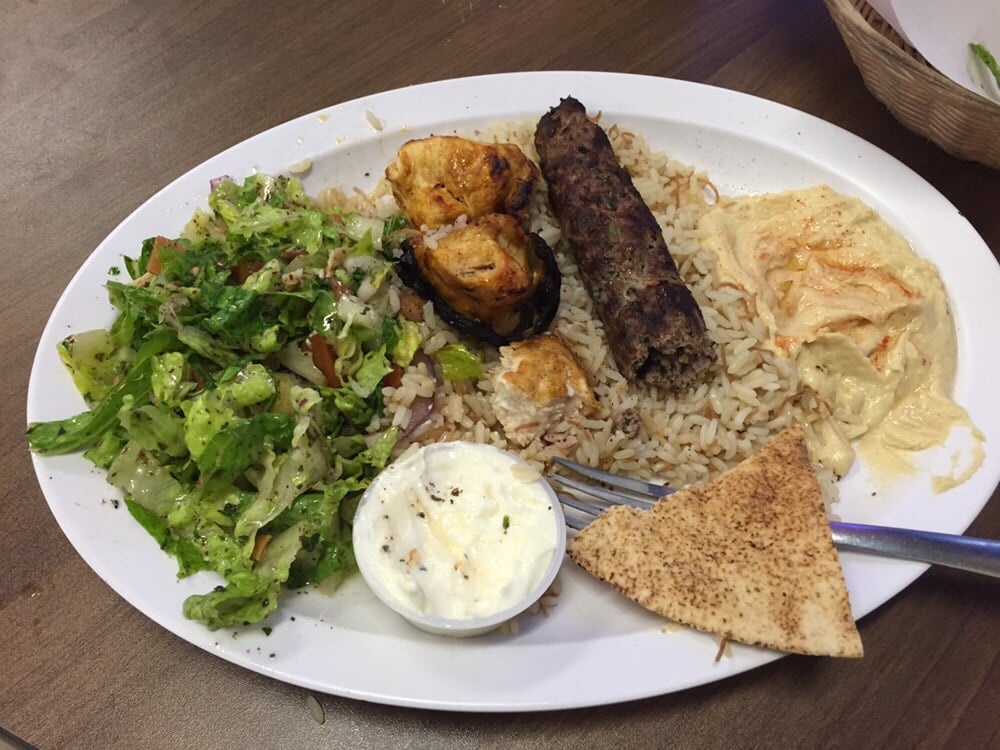 A beef shrima chicken kabob hummus rice pita bread for Alinas lebanese cuisine