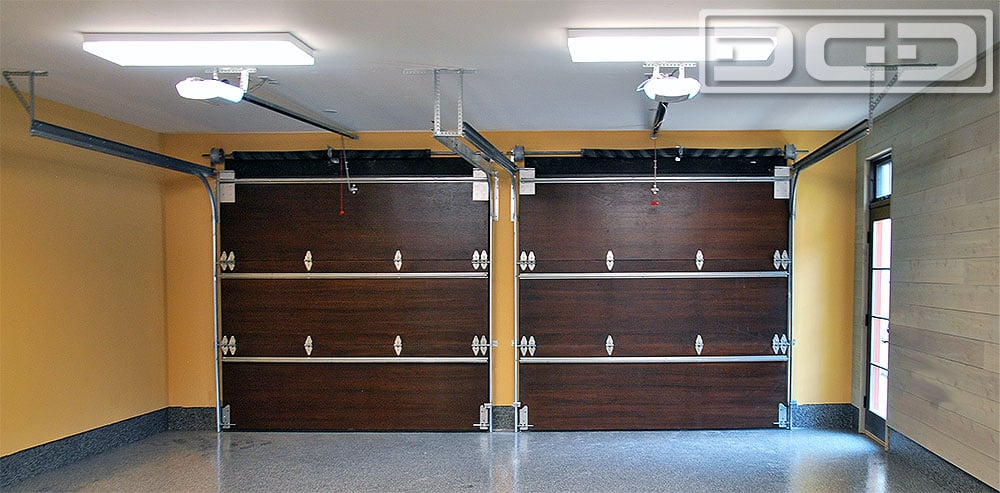 Interior View Of A Custom Wood Garage Door Project By