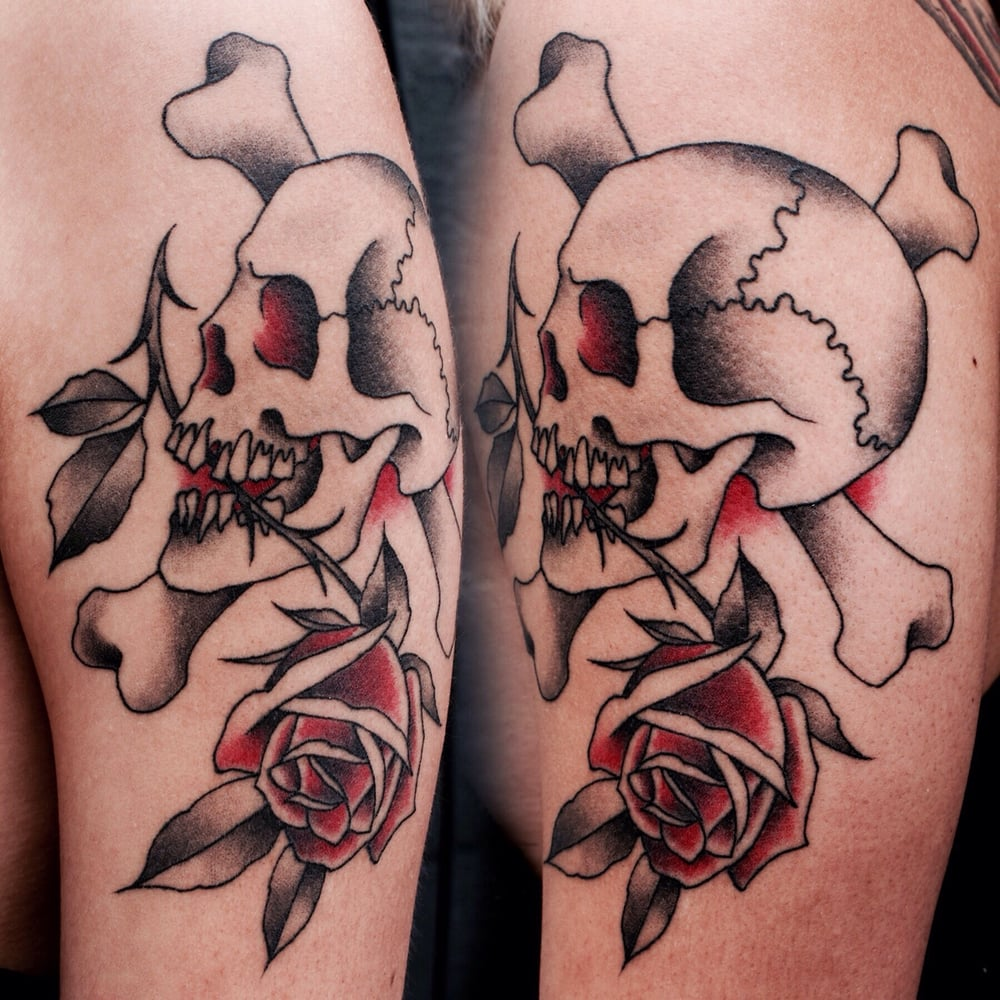 Skull n 39 crossbones tattoo by justin jakus yelp for Skull and crossbones tattoo