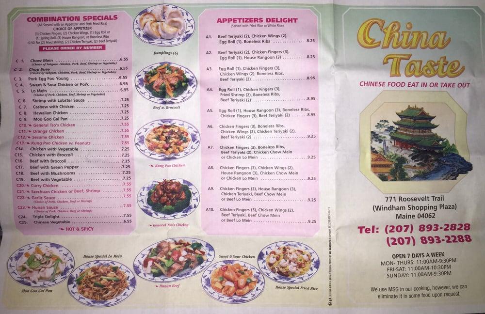 online menu of china taste restaurant windham maine