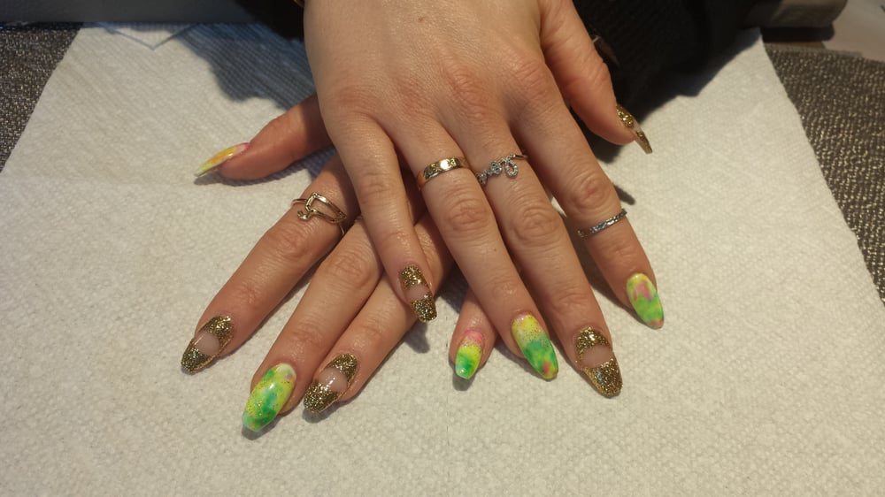 Fun Nail Art by Chloe! Neon Marble with beauty of emptiness design ...
