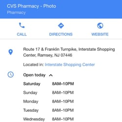 cvs pharmacy drugstores interstate shoppingctr ramsey nj