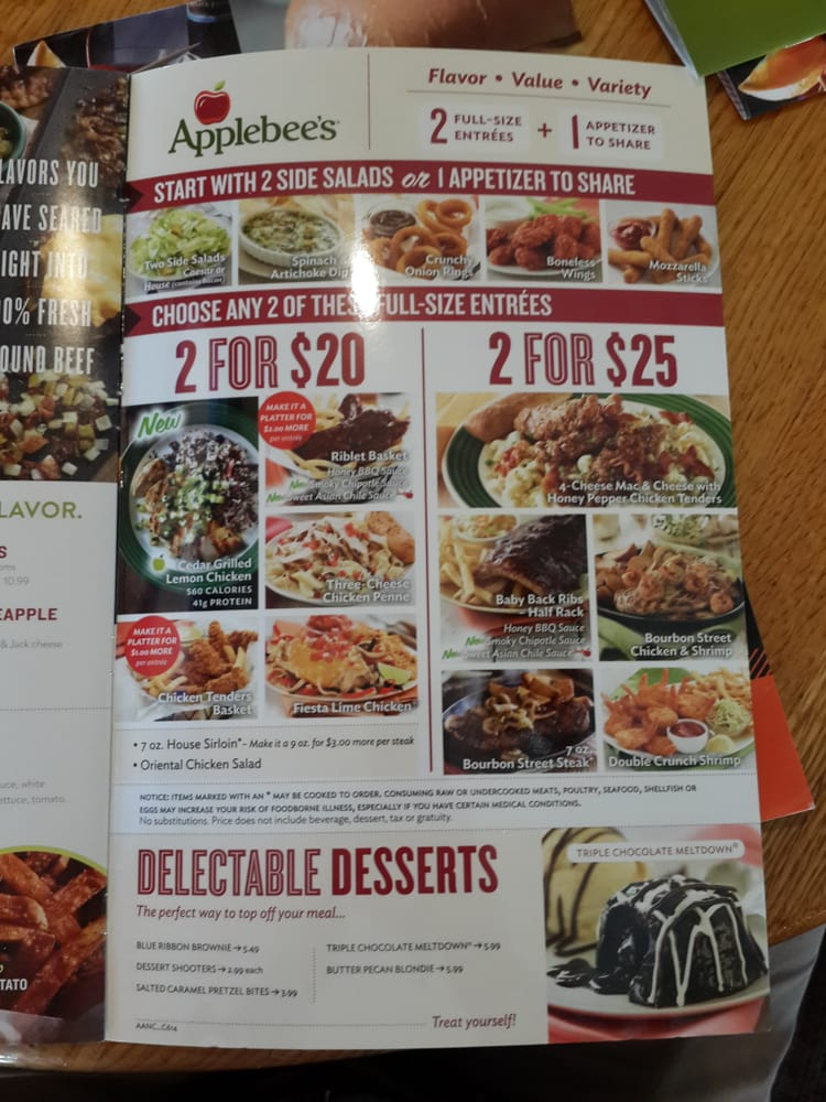Applebees: Join your neighbors at Applebees for delicious food, friendly service and a hometown atmosphere that cannott be beat. From American classics like our Applebees House Sirloin to signature dishes like our Fiesta Lime Chicken, Applebees is the place for great food and good times.
