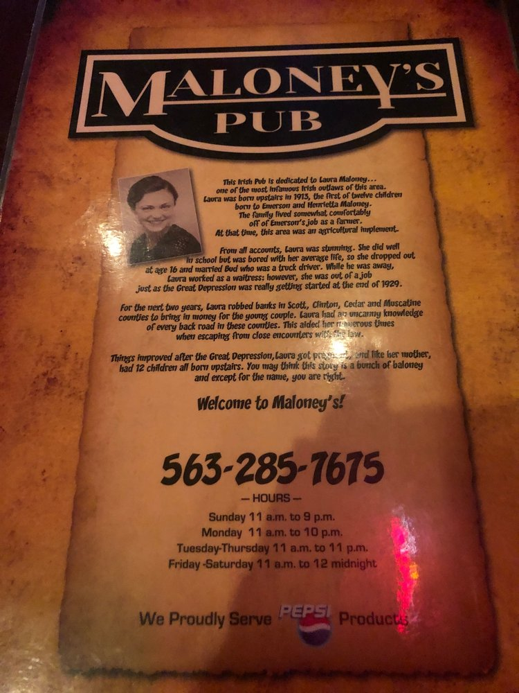 Maloney's Pub: 239 N 2nd St, Eldridge, IA