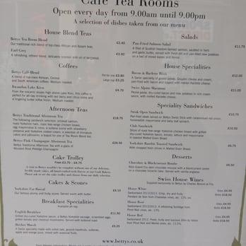 Bettys Tea Room Menu
