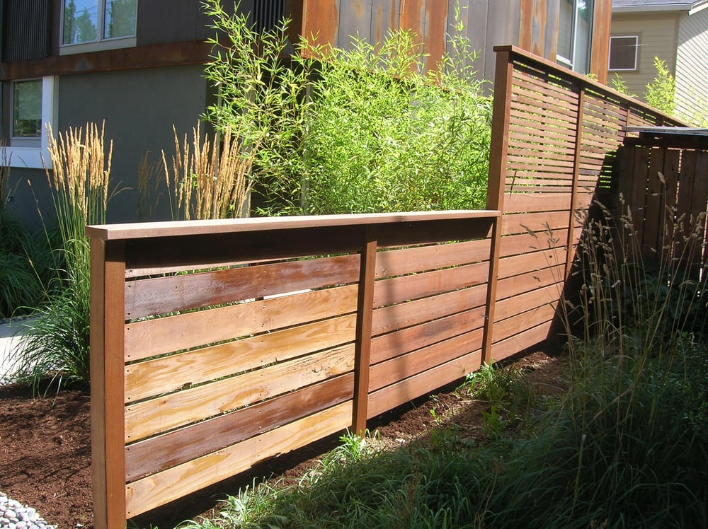 Custom Pre Stained Fence In Downtown Portland Oregon Yelp