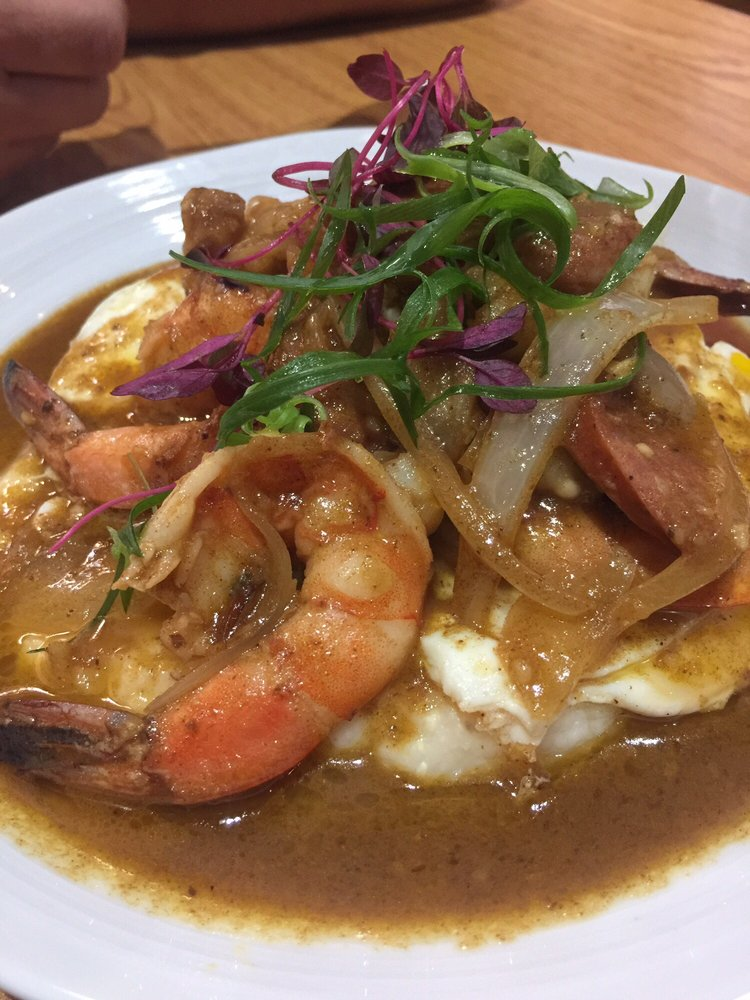 Scratch Kitchen And Bake Shop gulf shrimp + andouille sausage + over easy eggs + red eye gravy