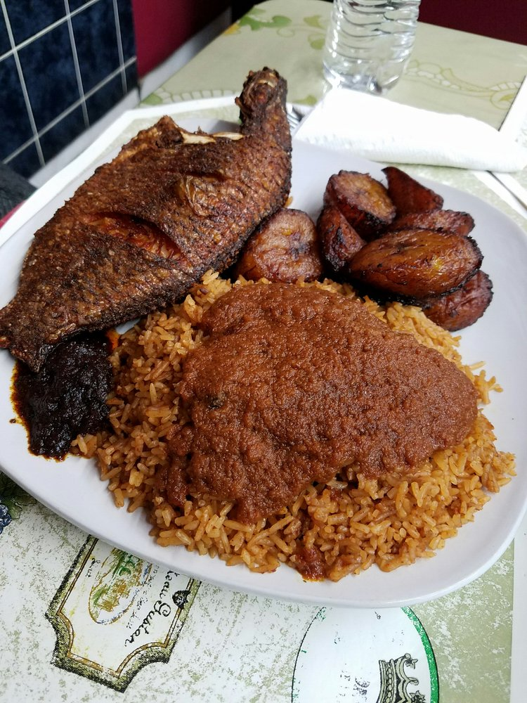 Jollof rice w fried fish and ripe plantain yelp photo of palace gate restaurant chicago il united states jollof rice w ccuart Gallery