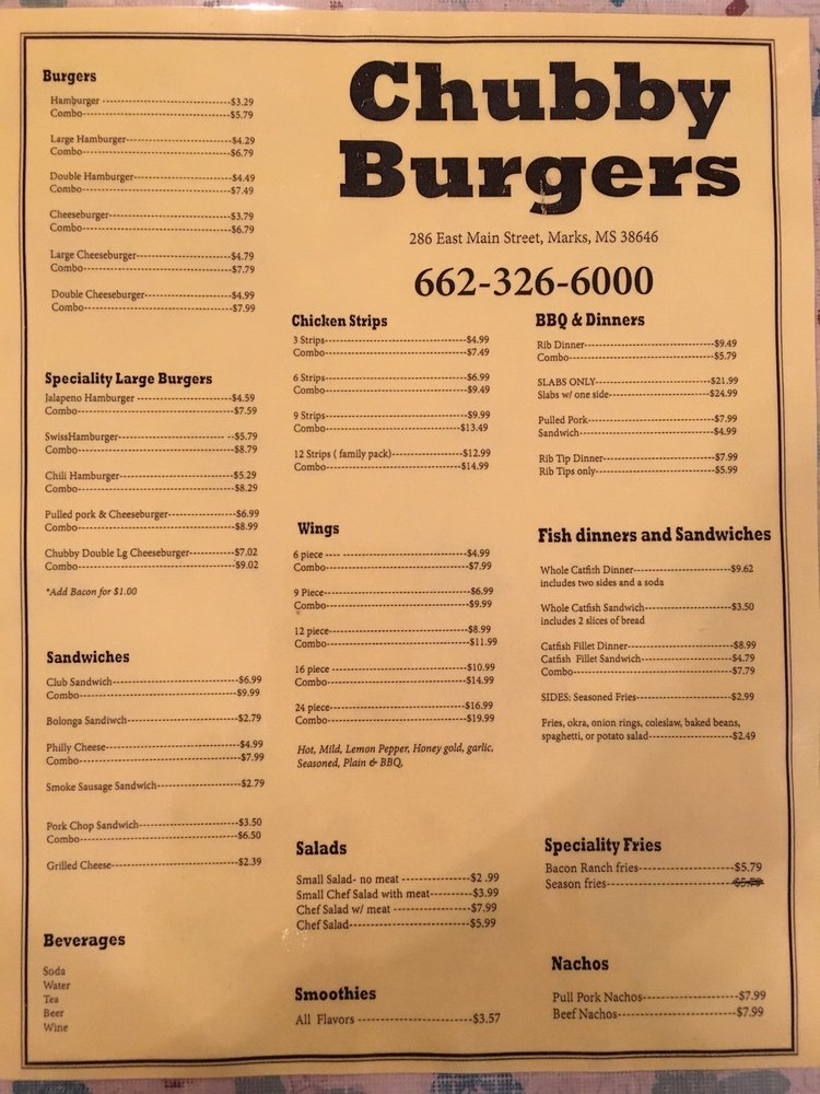 Chubby Burgers: 175 Williams Ave, Marks, MS