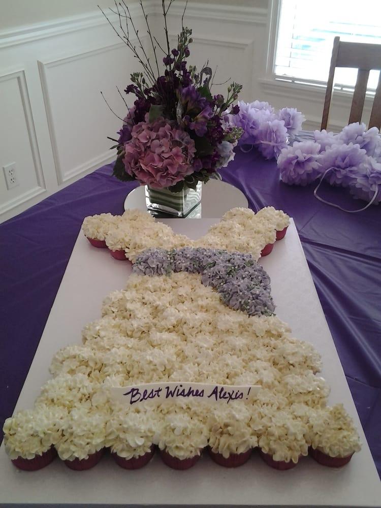 Wedding Dress Cupcake Cake for a Wedding Shower made with 48 ...