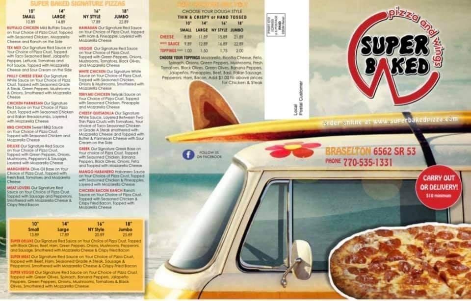 Super Baked Pizza & Wings: 6562 GA-53, Braselton, GA