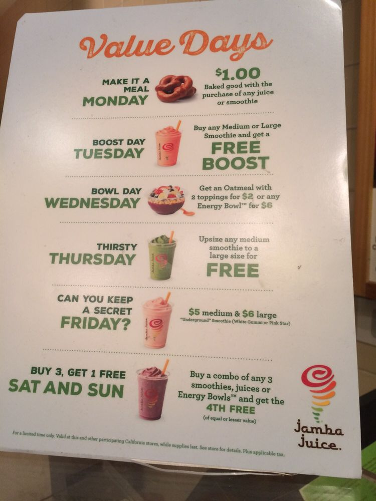 jamba juice weekday specials