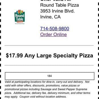 Round Table Pizza CLOSED Photos Reviews Pizza - Round table delivery fee