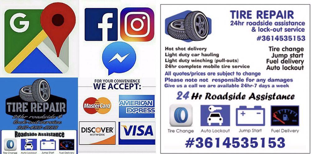 Tire Repair 24hr Roadside Assistance & lockout service: 210 Bluebonnet Ln, Sandia, TX