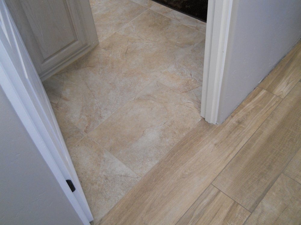 No need for transitions. Two different looks with bathroom tile ...