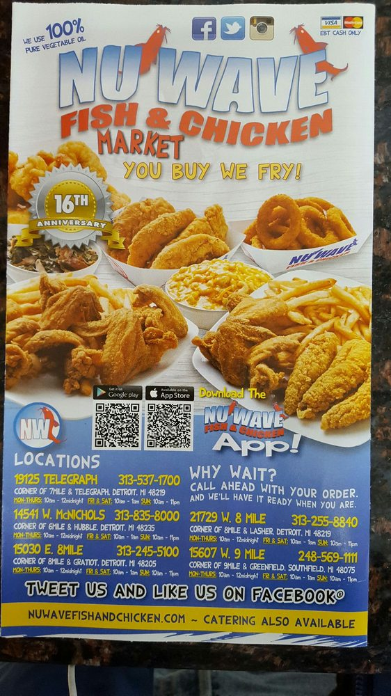 Take out menu yelp for Nuwave chicken and fish